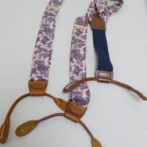 Other - Pink Blue Paisley silk leather suspenders one size